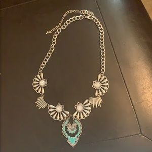 Beautiful turquoise color  and silver necklace